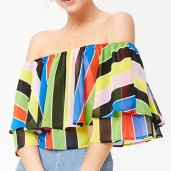 Forever21 Off-the-Shoulder Striped Blouse
