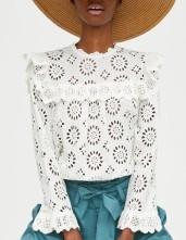 Zara Die Cut Embroidered Blouse