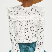 Zara Die Cut Embroidered Blouse