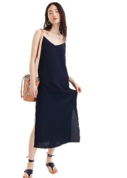 J.Crew Navy Midi Slip Dress